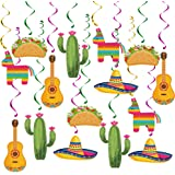 20 pcs Mexican Fiesta Hanging Swirl Decorations, Mexican Fiesta Cinco De Mayo Party Supplies, Taco Twosday Birthday Theme, Ta