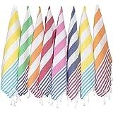 (SET of 8) Turkish Cotton Hand Face Head Guest Gym Towel Set Washcloth Kitchen Tea Towel Dish Cloth Set (MultiColor)