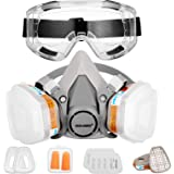 Respirator Dust Mask with Anti-Fog Safety Goggle Half Facepiece Gas Mask Set Reusable Against Dust/Vapors/Smells/Fumes/Sawdus