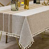 Warm Star Tablecloths,Cotton Linens Wrinkle Free Anti-Fading,Tabletop Decoration Washable Dust-Proof,Table Cover for Kitchen