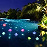 LOGUIDE LED Lotus Light Waterproof Firefly Trendy Hip Unique Color-Changing Flower Night Lamp Garden House Lights for Pool Pa