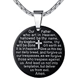 """Aoiy Stainless Steel Lord's Prayer and Cross Medallion Pendant Necklace, Unisex, 21"""" Chain"""