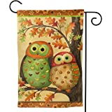 YISHOW Lovely Owl Tree Garden Flag Double Sided Vertical House Flags Lovely Owl Tree Yard Signs Outdoor Decor 12.5 X 18 Inch