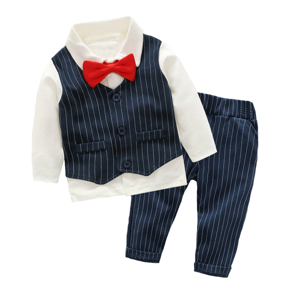 6c7504b49e490 エルフ ベビー(Fairy Baby)ベビーフォーマルスーツ 上下セット 男の子結婚式服 重ね