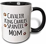 3dRose Cavalier King Charles Spaniel Dog Mom - Doggie by Breed - Brown Muddy paw Prints - Doggy Lover Owner - Two Tone Black