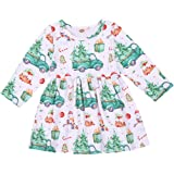 Toddler Baby Girls Christmas Long Sleeve White Snowman Tree Truck Printed Ruffled Princess Xmas Dresses Outfit