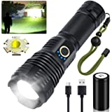LED Flashlights Rechargeable High Lumens, 90000 Lumens Super Bright Tactical Flashlights, Xhp70.2 Zoomable Waterproof Flash L