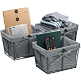 Sorbus Wire Basket Set with Removable Fabric Liner, Rustic Farmhouse Open Home Storage Bins & Decorative Baskets for Shelves