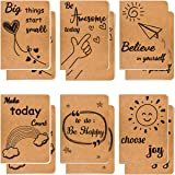 12 Pack Kraft Notebook Bulk Lined Pocket Notebook Travel Journal Notebook 6 Designs Small Notebooks 80 Pages