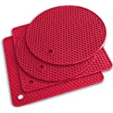 Q's INN Red Silicone Trivet Mats | Hot Pot Holders | Drying Mat. Our potholders Kitchen Tool is Heat Resistant to 440°F, Non-