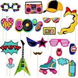 LUOEM 21pcs 80s Photo Booth Props Funny Birthday Party Photo Props Wooden Sticks Creative Party Supplies, Perfect 1980s Theme