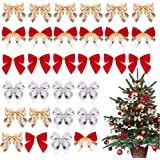 48 Pieces Christmas Tree Bows, YanYoung Christmas Ribbon Bows Christmas Wreath Bow, Great for Christmas Garland Christmas Tre