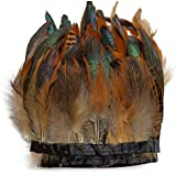wanjin Rooster Hackle Feather Fringe Trim Craft Feather 5-7 inch Width Pack of 2 Yards (Natural)
