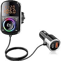 【2021最新電圧表示】FMトランスミッター シガーソケット QC3.0&PD18W急速充電 Bluetooth5.0…
