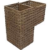 KOUBOO 1060100 Sweater Weave Handwoven Wicker Stair Step Basket, Rustic Brown, Coffee