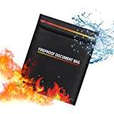 Esimen Fireproof Money Document Bag 15.35'' x 11.6'' Waterproof & Fire Resistant Safe Storage Pouch for Cash, Birth Certifica