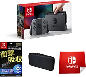 Nintendo Switch 本体 (ニンテンドースイッチ) 【Joy-Con (L) / (R) グレー】(キャンペーンプリペイド番号なし)&【Amazon.co.jp限定】液晶保護フィルム多機能付き(任天堂ライセンス商品)+専用スマートポーチ(EVA)ブラック+マイクロファイバークロス