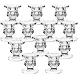 2CFUN Glass Candlestick Holders Set of 12 Tall Taper Candle Holders Small Bulk Candle Holder Decor for Party Supplies for Wed