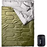Ohuhu 寝袋 封筒型 2人用 防水 シュラフ 丸洗いok 連結可能 最低使用温度 -5度 黒/緑/青 選択可 車中泊 登山 キャンプ 枕二つ付き 収納パック付