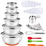 Mixing Bowls with Lid Set, 35PCS Kitchen Utensils Stainless Steel Nesting Bowls, Measuring Cups and Spoons, 12 Reusable Silic