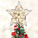 MAOYUE Christmas Tree Topper Rattan Lighted Tree Topper Battery Operated Rustic Star Tree Topper Built-in 10 LED Lights for C