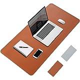 [Amazonブランド] Eono(イオーノ) デスクマット 80×40cm 大型 テーブルマット パソコンマット PUレザー 両面 防水デスクパッド 事務机 オフィス及び自宅用 ブラウンとシルバー