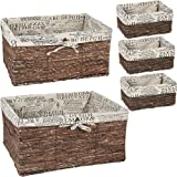 (5 Pack, Brown) - Nesting Baskets 5 Piece Set - Storage and Organisation Wicker Canvas Basket - Brown Decorative Storage Bins
