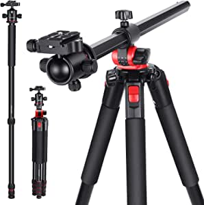 NEEWER Neewer カメラ三脚 360度回転可能なセンターコラムとボールヘッドQRプレート付き 184cmポータブルマグネシウムアルミ4セクション三脚レッグ DSLRカメラビデオカメラ用 15kgまで