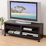 山善 テレビ台 幅100×奥行29×高さ39cm 42型対応 シンプル キャスター付き(ストッパーあり) 棚板可動 組立品 ジョイブラウン CTV-4010C(JB)