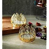 Itiha Crown Tea Light Candle Holders Diya Set of 2 for Diwali Decoration, Festive Return Gift- 2 inches