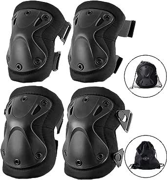 【SIMPS】 XTAK型 (収納袋 + 収納ネット袋 付き)プロテクター エルボーパッド ニーパッド 4点セット サバゲー スケボー オートバイ 自転車 ブラック