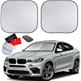 EzyShade Windshield Sun Shade + Extra Item. See Size-Chart with Your Vehicle (Easy-Read). Foldable 2-Piece Car Sunshades Refl