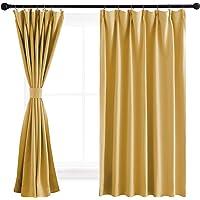 NICETOWN 遮光カーテン カフェーカーテン 仕切り用 幅100cm丈60cm イエロー 2枚セット 防音 断熱 厚…