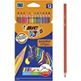 BIC 950522 Kids Evolution Stripes Colouring Pencils - Assorted Colours, Pack of 12