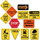 """WERNNSAI Construction Zone Party Decorations - 12 PCS Size 8"""" Traffic Sign Cutouts for Boys Kids Birthday Party Construction"""