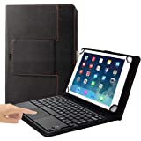 Eoso TouchPad Keyboard case for Tablets,2-in-1 Bluetooth Wireless Keyboard with Touchpad & Leather Folio Cover Black 9-10.5""