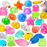 FLY2SKY 25PCS Mochi Squishy Toys 2nd Generation Glitter Party Favors for Kids Mini Squishy Animal Squishies Stress Relief Toy