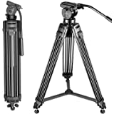 Neewer Professional 61 inches/155 Centimeters Aluminum Alloy Video Camera Tripod with 360 Degree Fluid Drag Head,1/4 and 3/8-