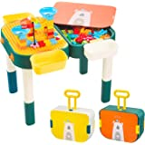 Toddler Activity Building Block Table, 6-in-1 Kids Multi-Activity with Double Side Table, Learning ,Creating,Eating,Painting,