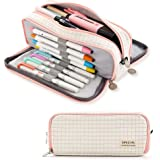 ANGOOBABY Large Pencil Case Big Capacity 3 Compartments Canvas Pencil Pouch for Teen Boys Girls School Students (Small Grid P