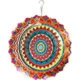 Fonmy Stainless Steel Wind Spinner Worth Gift Indoor Outdoor Garden Decoration Crafts Ornaments 12 inch Multi Color Mandala W