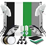 Abeststudio 2M x 3M/6.6ft x 10ft Background Support System with 1.6x3M (White Bluck Green Gray) 2x 135W Umbrellas Softbox Con