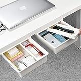 Under Desk Drawer[2Pack, M+M], GGIANTGO Desk Drawer, Set for Office/Bedroom/School/Kitchen, Self-Adhesive Under Desk Storage