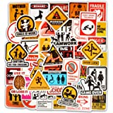 Honch Vinyl Funny Warning Traffic Sign Stickers 50 Pcs Bumper Stickers Pack Decals for Laptop Ipad Car Luggage Water Bottle