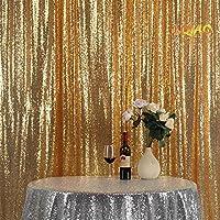 lqiao Shimmerゴールドスパンコールカーテン10ftx10ftウエディングフォトブース背景パーティー写真撮影背景Bestウェディングフォトデコレーション