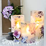 Silverstro Battery Operated Candles with Flickering Flame, Flameless Candles Love Theme Hydrangea Series, Realistic Orange Fl