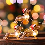Impress Life Dachshund Santa Decorative String Lights, 10ft 30 Pet Theme LED Twinkle Lights, USB Battery Operated with Remote