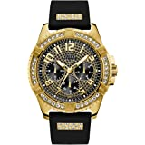 GUESS Comfortable Gold-Tone Black Stain Resistant Silicone Watch with Crystal Embellished Day, Date + 24 Hour Military/Int'l