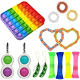 14pcs Sensory Fidget Toys,Simple Dimple with Keychain,Silicone Flip Sensory Dimple Toy,Keychain Featuring Easily Attaches to