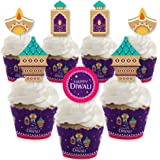 Big Dot of Happiness Happy Diwali - Cupcake Decoration - Festival of Lights Party Cupcake Wrappers and Treat Picks Kit - Set